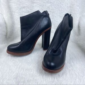 Dolce Vita Leather Chunky High Heel Ankle Boot Black Size 9.5
